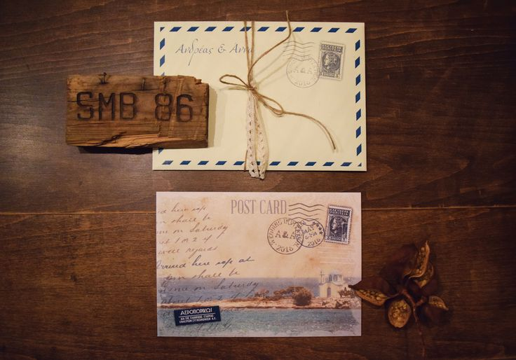 Post card vintage Greece Wedding invitation
