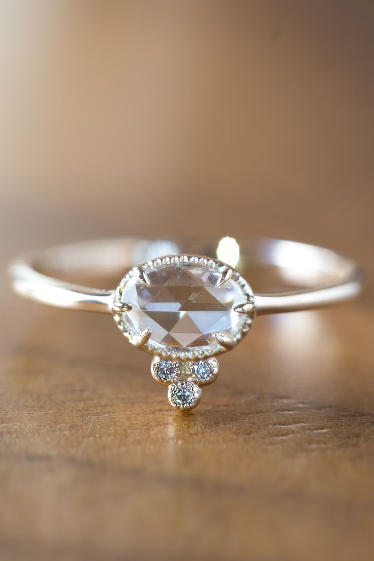 Unique rose cut engagement ring from Envero jewelry featuring eye clean  white rose cut diamond.