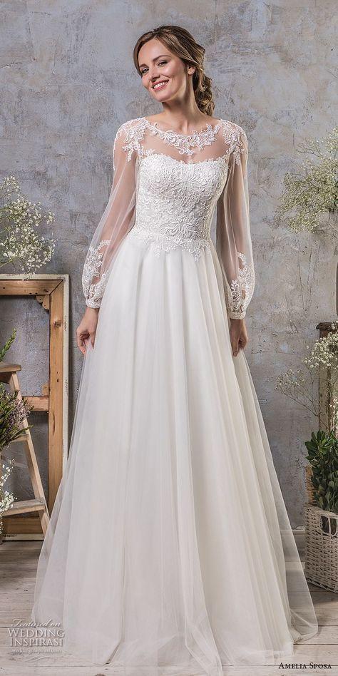amelia sposa fall 2018 bridal long bishop sleeves illusion jewel semi sweetheart…