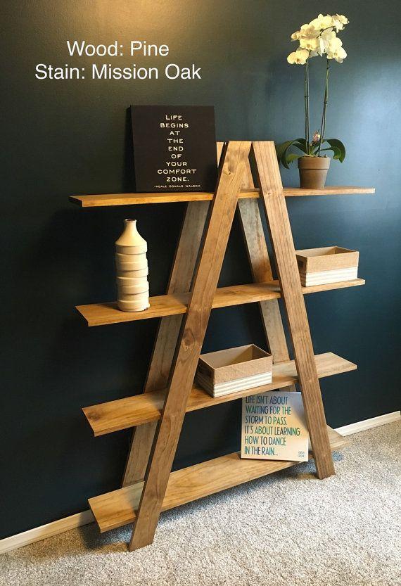 Solid Oak Ladder Shelf Free Shipping Handmade by WaywardWood33