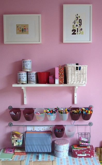 Neat way to organize a child's arts and crafts area.