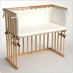 babybay midi cosleeping cot with matress, head guard and rail in beech