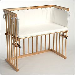 babybay midi cosleeping cot with matress, head guard and rail in beech