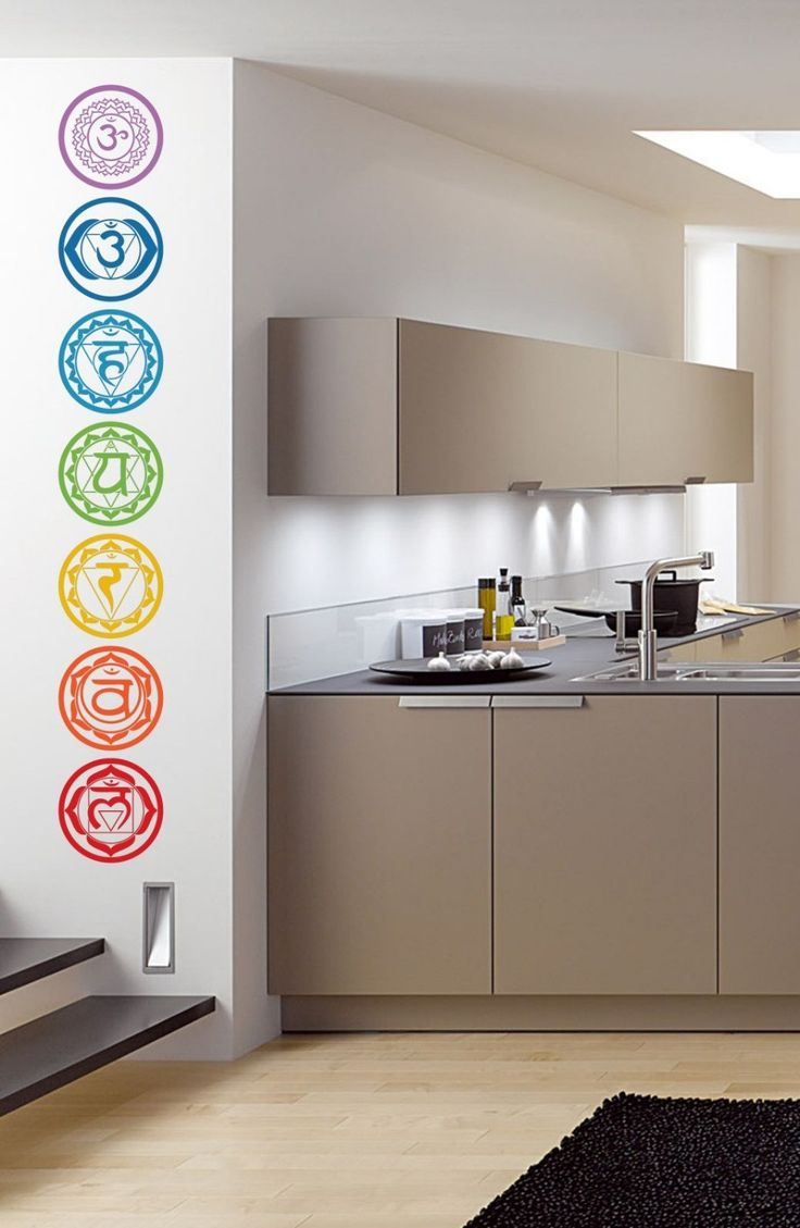 7pcs/set Chakras Vinyl Wall Stickers Mandala Yoga Om Meditation Symbol Wall Decals home decor decoration