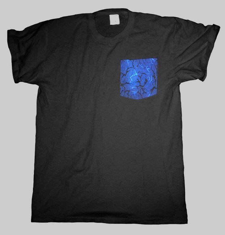 Blue Fire Pocket T Shirt Black Men S - 2XL  #HailFridayCompagnie #PremiumTees #tshirt #black