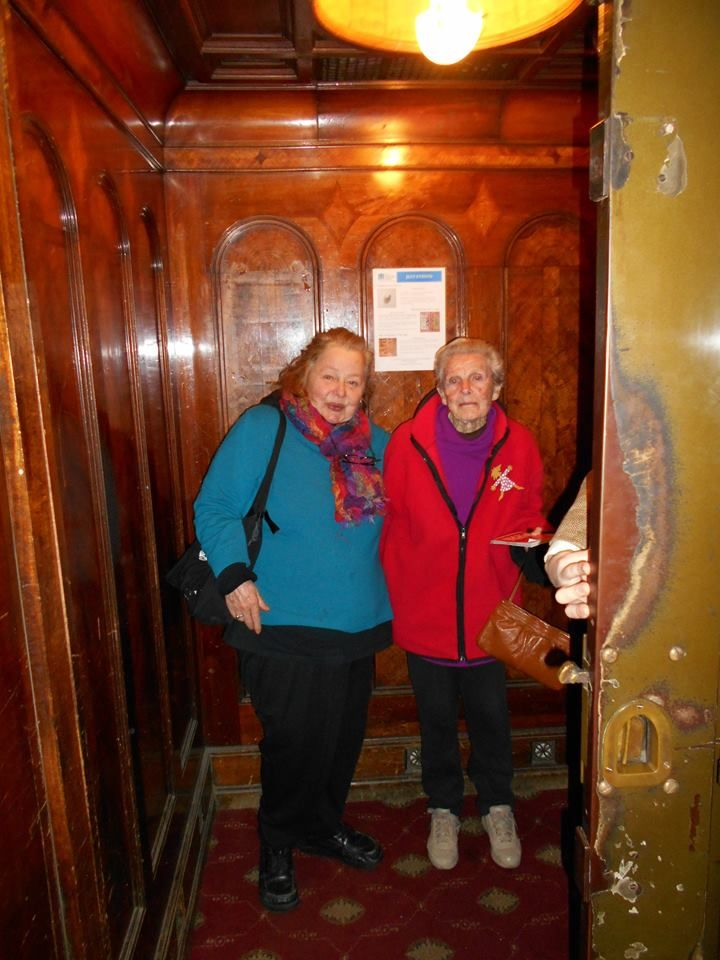 Kerry Underwood and her mother in the oldest elevator in Melborne
