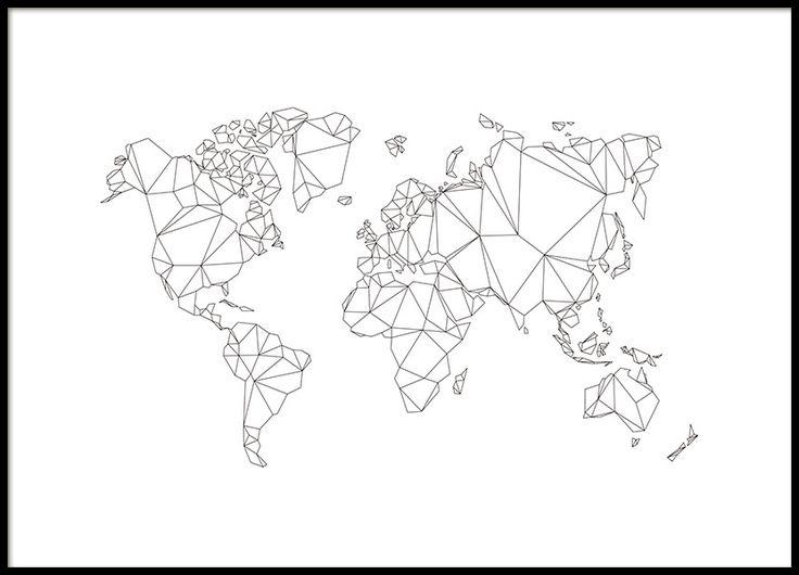 Weltkarte in der Grafik-Stil mit polygonmönster. Schwarz-Weiß-Poster mit der Karte. Setzen Sie einen schönen Rahmen in und um Ihre eigene einzigartige Bilderwand erstellen! www.desenio.de