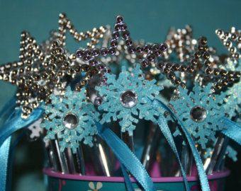 Frozen wands Snowflake Wands Birthday Wands by BellasBloomStudio