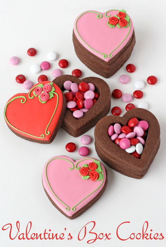 Valentine's Treasure Box Cookies- by Glorious Treats. This is a great little gift to give a friend. Not only an awesome cookie but it holds a gift inside. Let's see...I can envision an engagement ring inside. Good tutorial.
