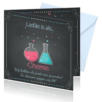 Een hippe en originele trouwkaart maken met een bijzonder design. Net een beetje anders. Liefde is als.. chemie, lekker stoer!