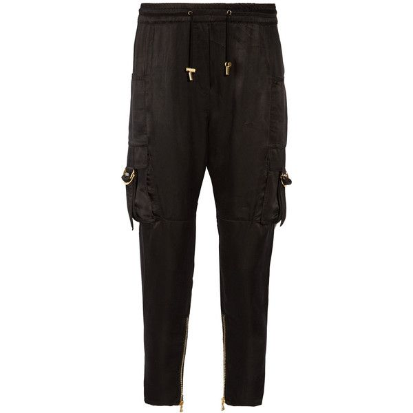 Balmain Balmain - Cropped Satin Pants - Black ($1,090) ❤ liked on Polyvore featuring pants, capris, balmain pants, cropped trousers, cuffed pants, cuffed cargo pants and satin pants