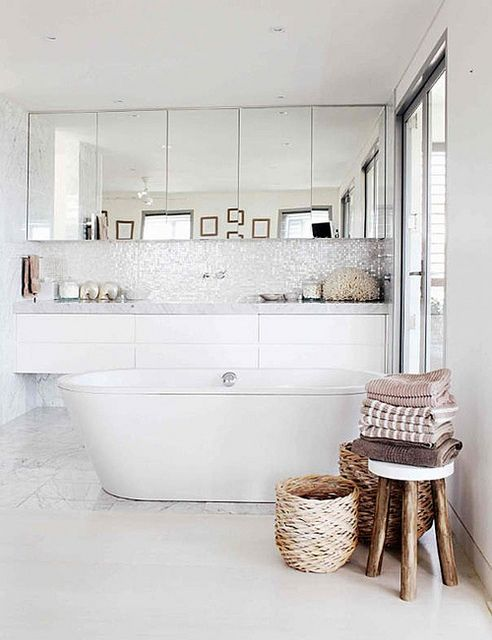 paneled mirror, tall backsplash, floating cabinetry and free standing tub. bathroom inspiration by the style files, via Adore Magazine