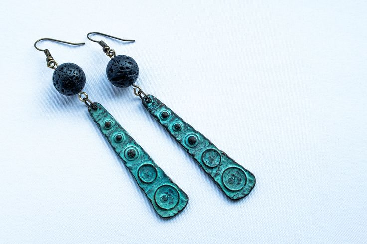 Boho style teal/black earring w. lavastone and antique metal parts by cementary on Etsy