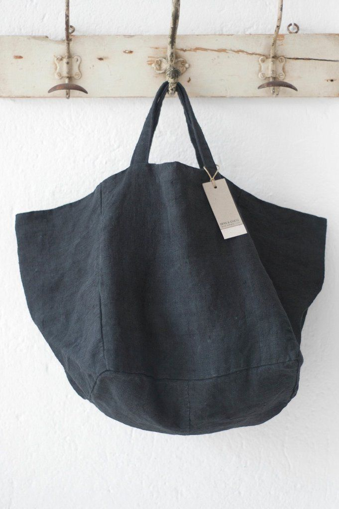 """by Ana & Cuca. Ana & Cuca's mission~ recycle, invent, transform, rescue These linen totes are of infinite quality, many of them in the second half of the eighteenth century. The incredible resistance of these totes is thanks to the mixture of flax and hemp. Approximately 14"""" x 14"""" Check out Ana & Cuca on our Pinterest page! *Please allow 4 week production & shipping time. Handmade by Ana & Cuca in Barcelona. Please email us with any questions or requests."""