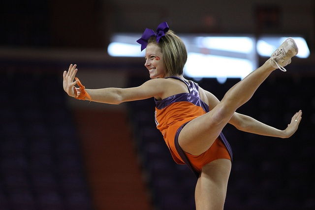 NCAA Womens Basketball: Charleston Southern at Clemson, cheerleader, stunt, #cheer, collegiate, arabesque (will prob. move to one of the other cheer boards)