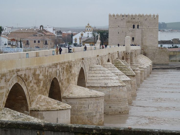 The roman bridge on the Guadalquivir in Cordoba, Spain was built in the early 1st century BC