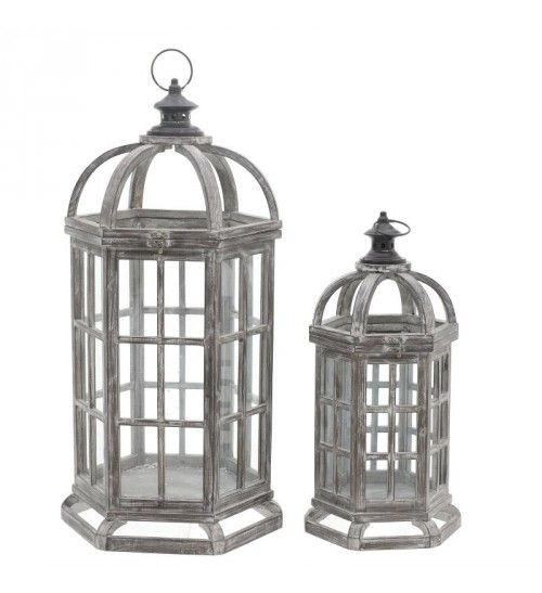 S_2 WOODEN_METAL LANTERN IN ANTIQUE BROWN 39X35X75
