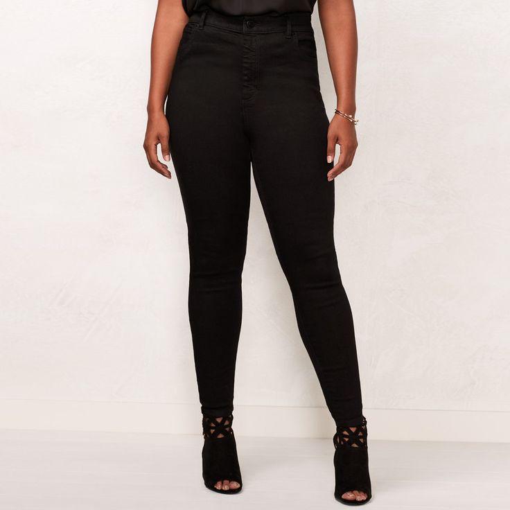 Plus Size LC Lauren Conrad High-Waist Jeggings, Women's, Size: 22W Short, Black