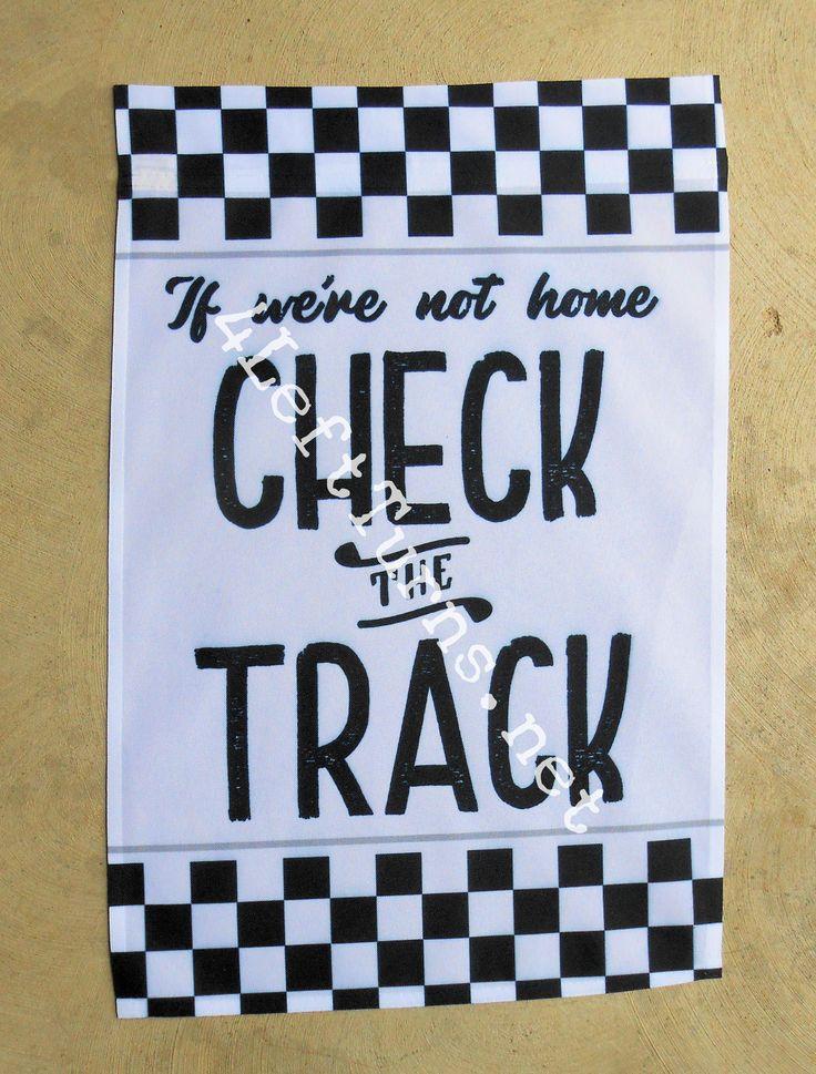 "Check the Track Garden Flag ""Black and white chec…"
