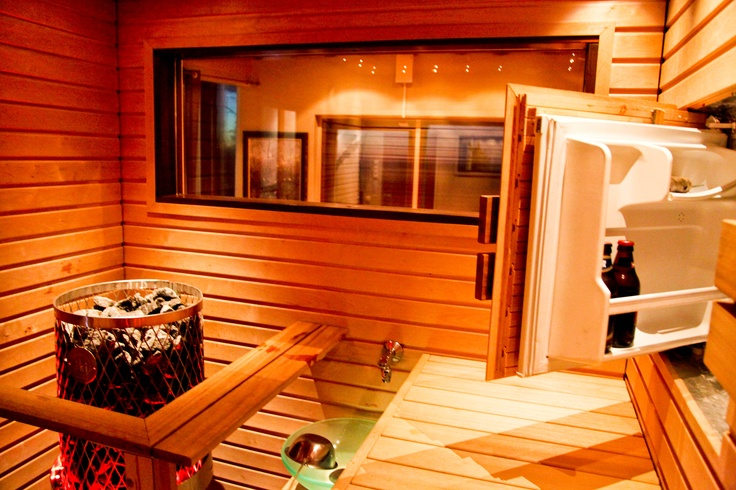 "Have a cold drink from your secret fridge at #Sauna. Gin gin, Nastarovia, Salut (in Finnish ""Kippis"") *Think Cool- Think #Finland"