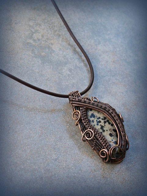 Cruella Deville's Necklace/Dalmation stone/wire woven pendant/ooak by UniqueRabbitDesigns on Etsy