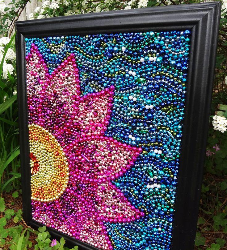 Recycled Mardi Gras beads!!: Wall Art, Spring Flower, Beads Mosaics, Mardigra, Crafts Idea, Mardi Gras, Beads Art, Recycled Mardi, Gras Beads