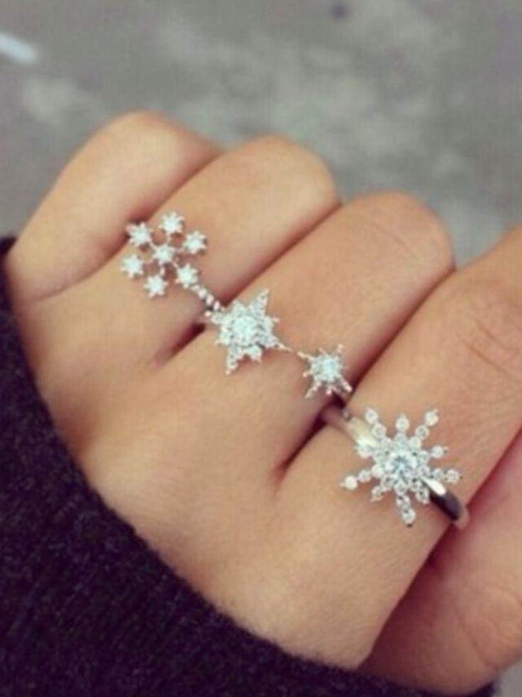 http://rubies.work/0259-ruby-rings/ Snowflake rings...cute idea, no link to purchase...will have to search