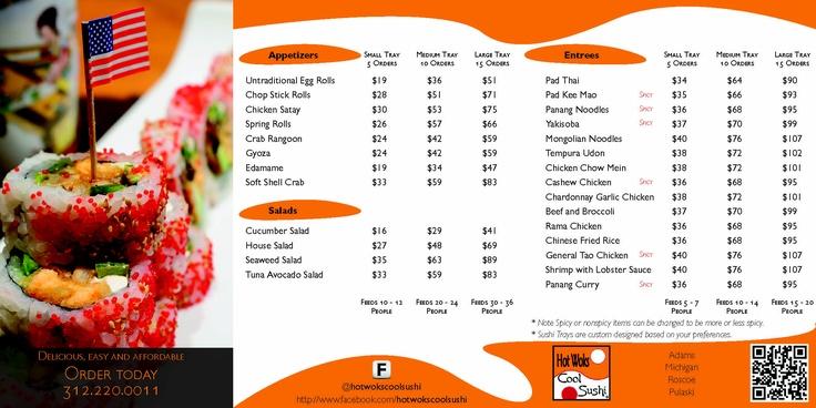 Hot Woks Cool Sushi- Catering Brochure mockup | Whisk Social ...