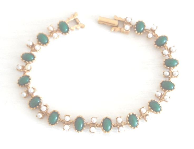 A Sarah Coventry Gilt Vintage Cabochon and Seed Pearl Bracelet - Boxed Gift by AntiquesEtCetera13 on Etsy