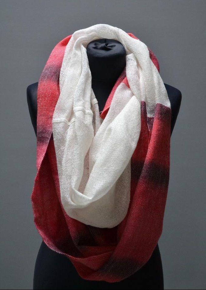Women Scarf fiber textile handmade wool linen amber thread Red black white #Handmade #Scarf