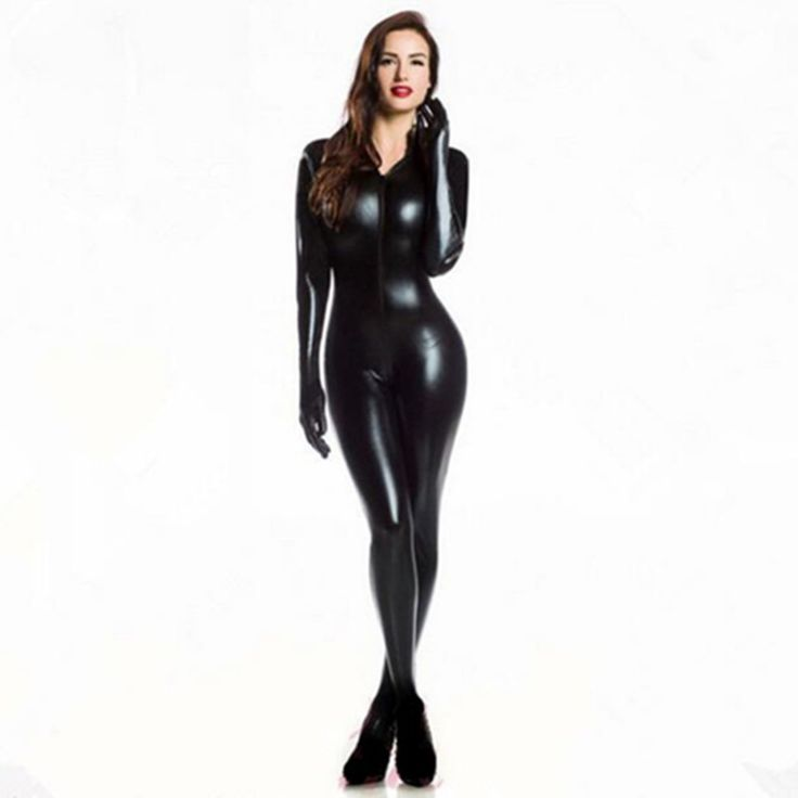 Plus XXL Size Wome's 2way zipper Faux Leather Catsuit Clubwear DS Latex Cat Women With Gloves Fancy Costume Jumpsuit