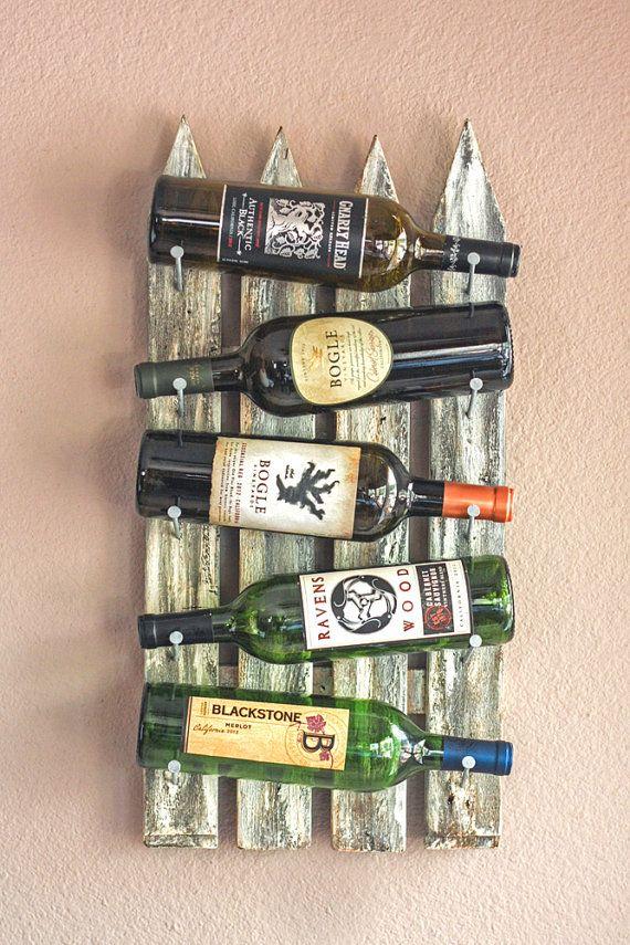 Wall Wine Rack 5 Bottles Handmade Weathered by AdliteCreations