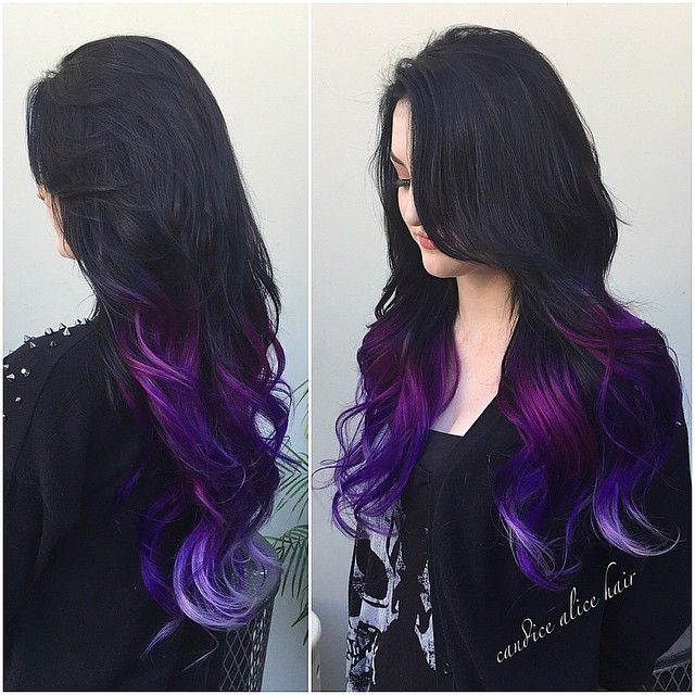 I love this black to purple ombre, the different shades of purple look so pretty in this look. Hair by Candice Alice