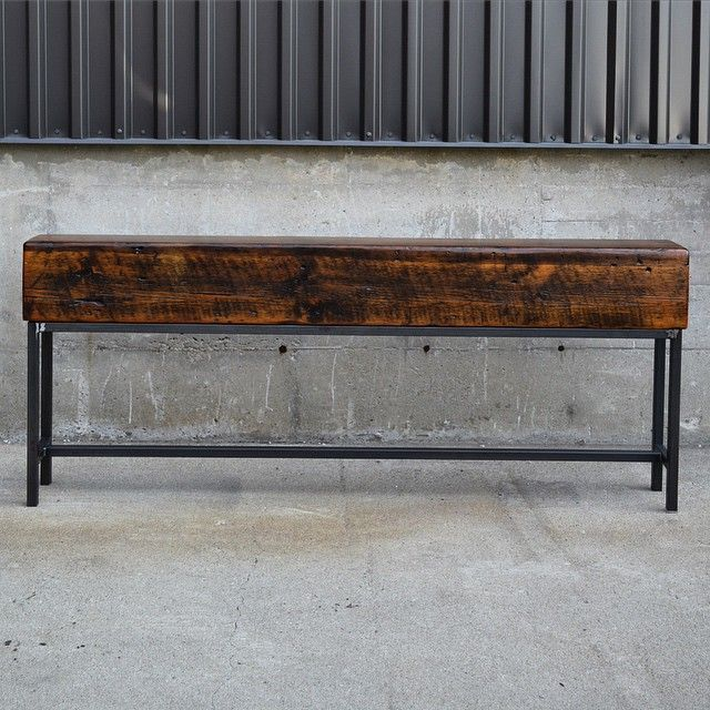 How awesome is this console table? A client brought us a beam from her families barn... we epoxied it and here's the final product! www.lushwoodcraft.ca