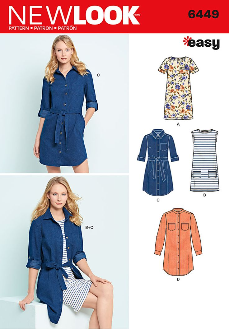 New Look Misses' Easy Shirt Dress and Knit Dress 6449