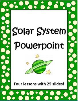 Looking for a complete set of PowerPoint lessons about the solar system? This is it! This set of four Solar System PowerPoint lessons will help you teach the basic concepts of space. It includes 4 big lessons with a total of 25 slides. Eye catching photos will engage your students! Suggested grades are 3 - 7. $