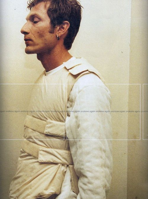 long sleeve t shirt and padded silk velcro vest: helmut lang, 1999