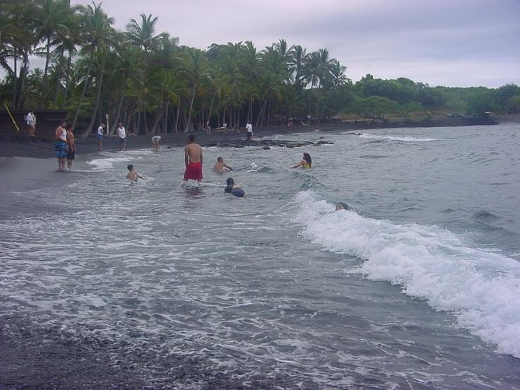 Punalu'u Black Sand Beach near South Point on the Big Island of Hawaii - great place to swim with sea turtles!