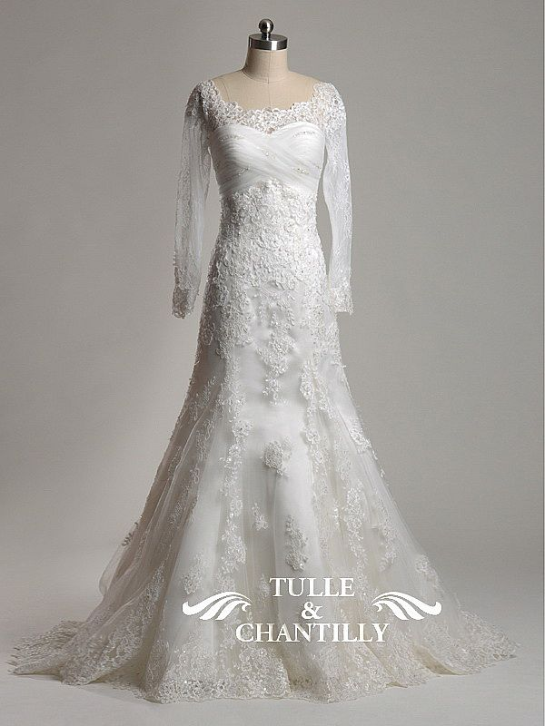 Unique Spring Sabrina Neckline Vintage Lace Wedding Dress with Long Sleeves TBQWC