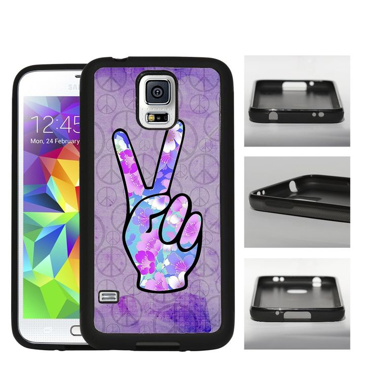 Floral Peace Fingers with Peace Sign Purple Grunge Background (Samsung Galaxy S5 G900T) Rubber Silicone TPU Cell Phone Case. Designs will be printed directly onto the metal part on the back of the case via latest sublimation technology. THIS IS NOT A DECAL OR SKIN. MODEL COMPATIBILITY: Fits T-Mobile, AT&T,Verizon, Sprint. ACCESS: Full access to all functions (buttons, ports, front and rear camera, and flash).