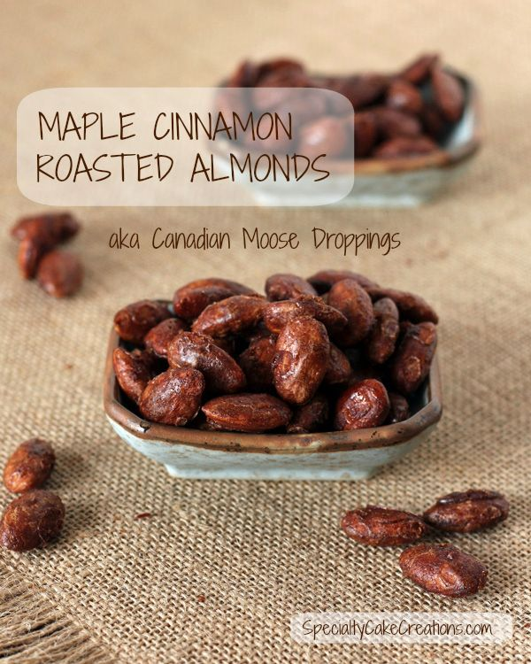 Roasted almonds flavored with maple and cinnamon. Healthy comfort snack