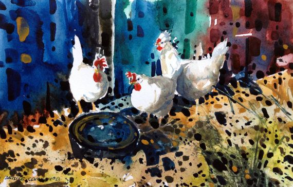 Photo notecards of new watercolor paintings of my by chickensandme, $20.00
