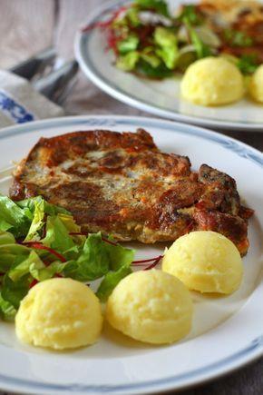 Tejfölös-mustáros tarja sajtos burgonyapürével recept
