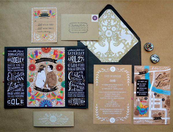Festive Wedding Invitations by Elizabeth Baddeley, via Behance