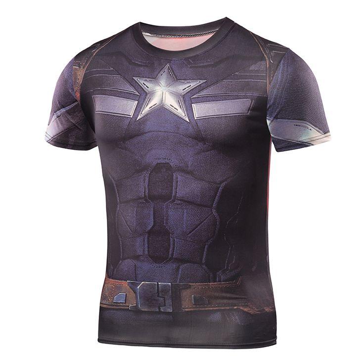 cool Sport t-shirt Captain America Marvel Assault Edition GYM -