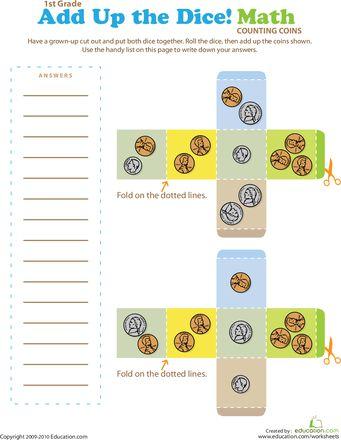 dice addition worksheet printable math multiplication. Black Bedroom Furniture Sets. Home Design Ideas