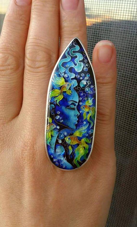 Sirena. pesci.  Georgiana in cloisonne, anello. Sterling silver. Ragazza e pesci, gioielli fatti a mano. Sirena. Misura regolabile
