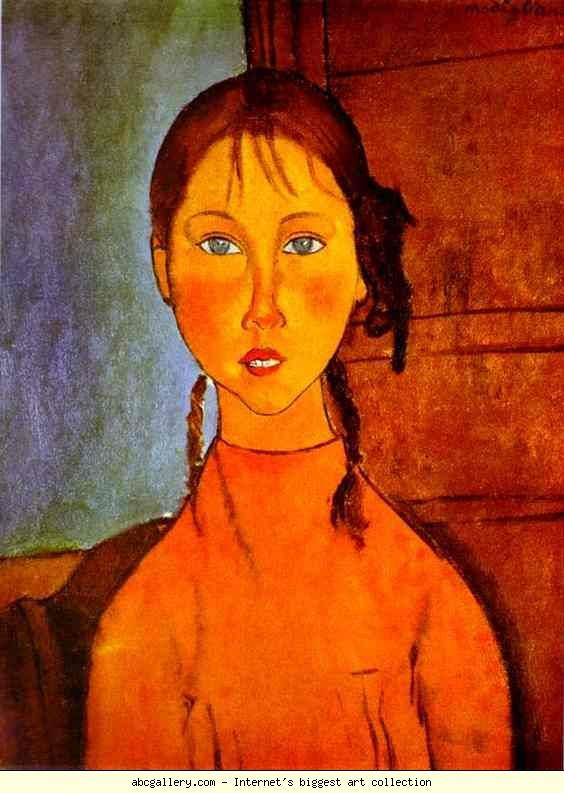 Amedeo Modigliani – Girl with Braids, 1918. Oil on canvas. 60 cm x 45.4 cm. The Nagoya City Art Museum, Nagoya, Japan