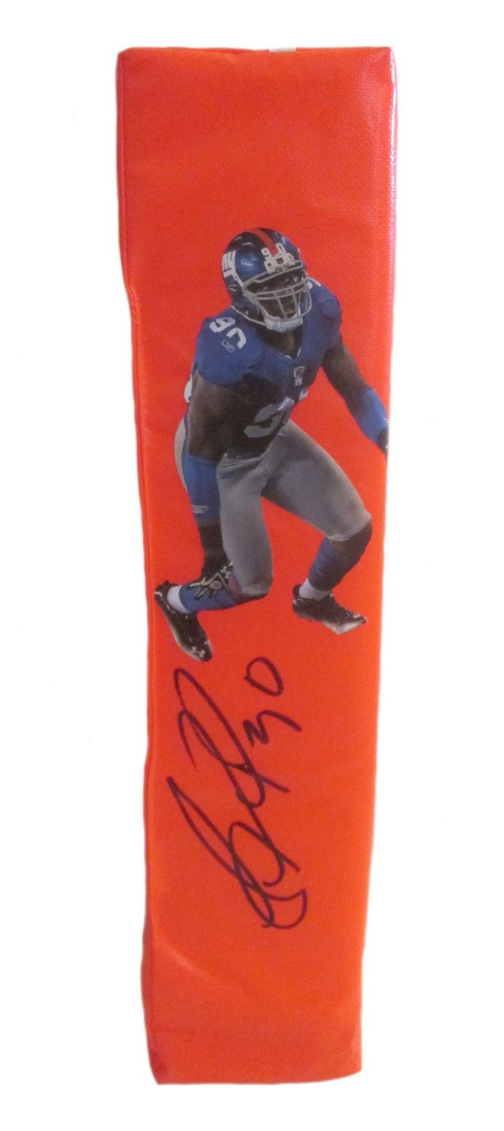 Jason Pierre-Paul signed NY Giants full size football touchdown end zone pylon w/ proof photo.  Proof photo of JPP signing will be included with your purchase along with a COA issued from Southwestconnection-Memorabilia, guaranteeing the item to pass authentication services from PSA/DNA or JSA. Free USPS shipping. www.AutographedwithProof.com is your one stop for autographed collectibles from New York sports teams. Check back with us often, as we are always obtaining new items.