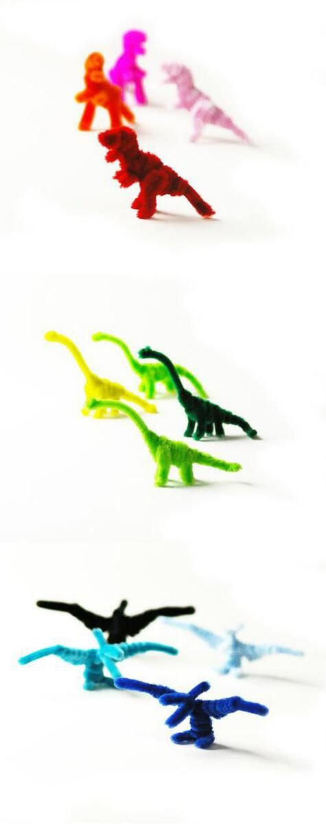 Pipe cleaner dinosaur. These colorful dinosaur can be made with a pipe cleaner four only hand without tools.